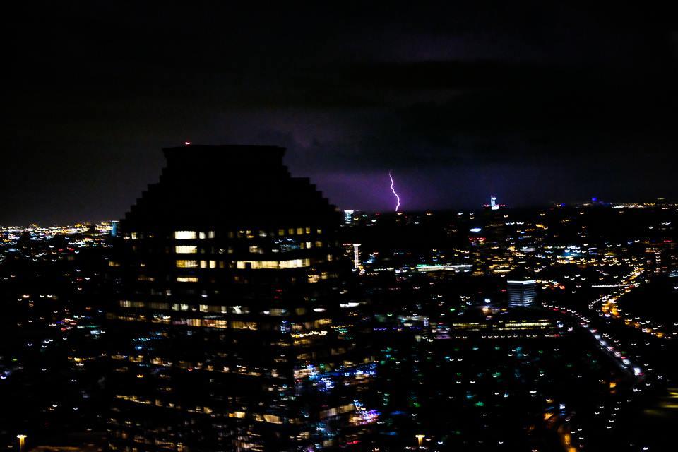 Houston, downtown, lightning, city, sky, night